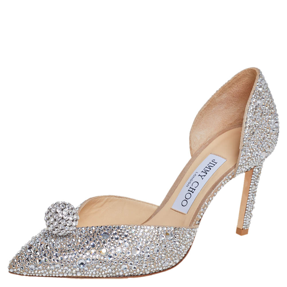 Jimmy Choo Silver Suede Crystal Embellishment D'Orsay Pumps Size 37.5