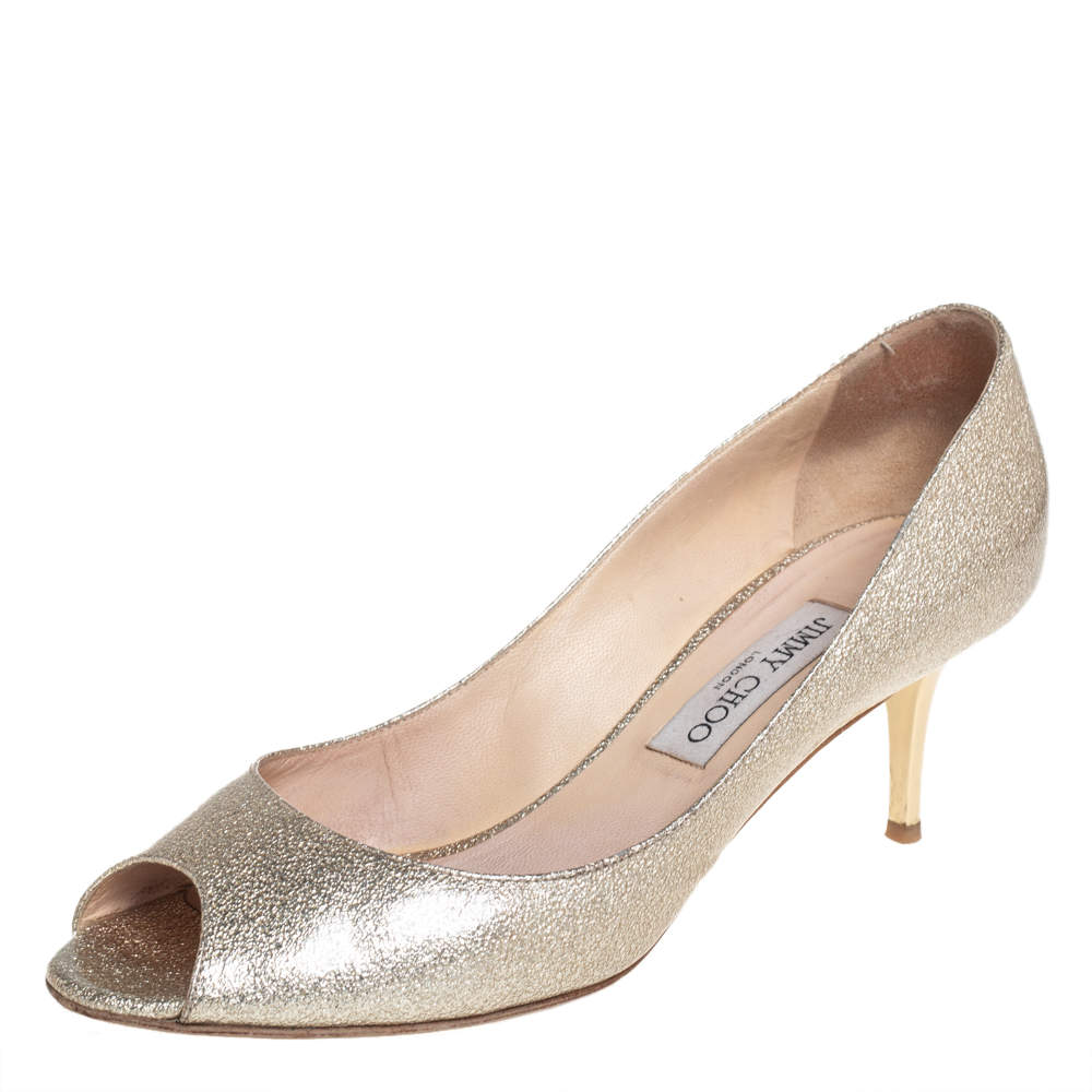 Jimmy Choo Gold Coated Leather Evelyn Peep Toe Pumps Size 39