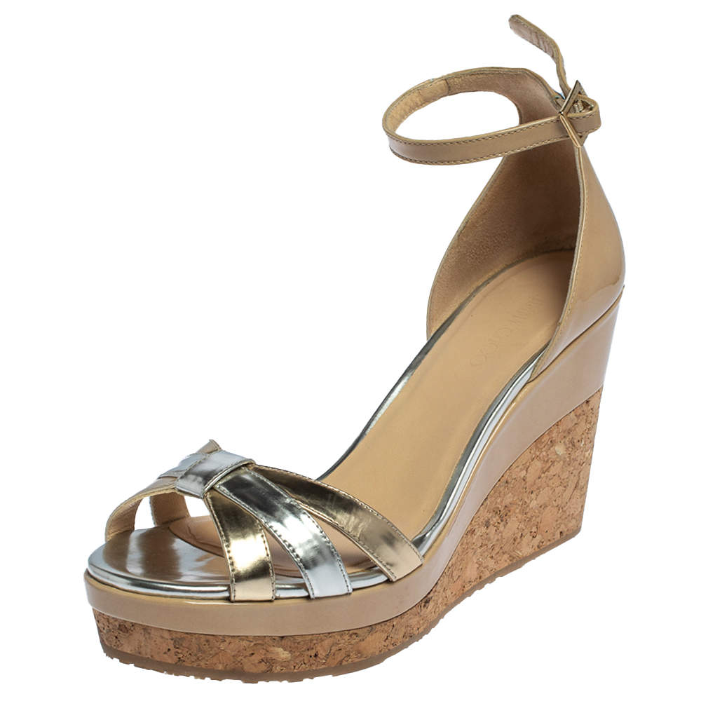 Jimmy Choo Beige Patent And Gold/Silver Leather Cork Wedge Platform Ankle Strap Sandals Size 39
