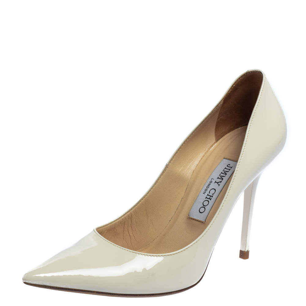 Jimmy Choo Off White Patent Leather Abel Pointed Toe Pumps Size 37