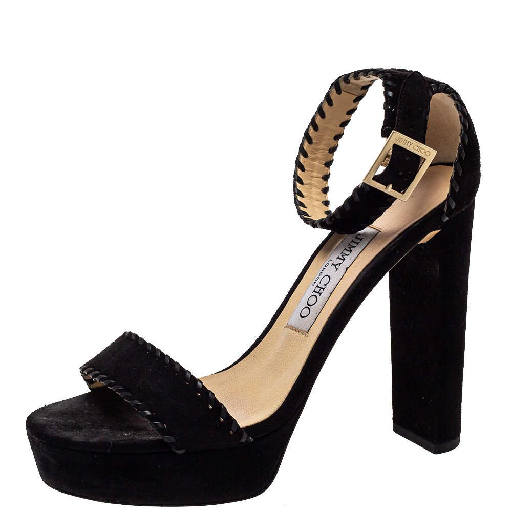 Jimmy Choo Black Suede Ankle Strap Sandals Size 36.5