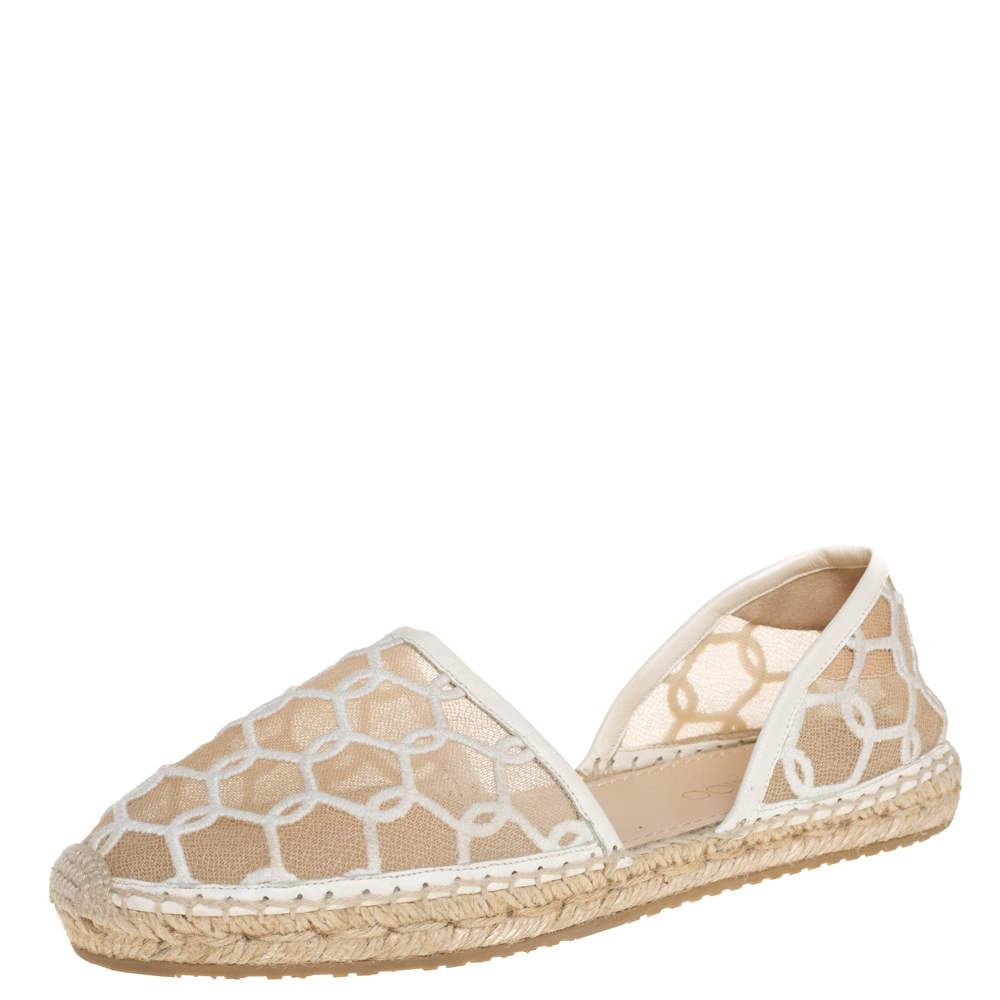 Jimmy Choo White  Embroidered Mesh Dreya D'orsay Flat Espadrilles Size Size 38.5