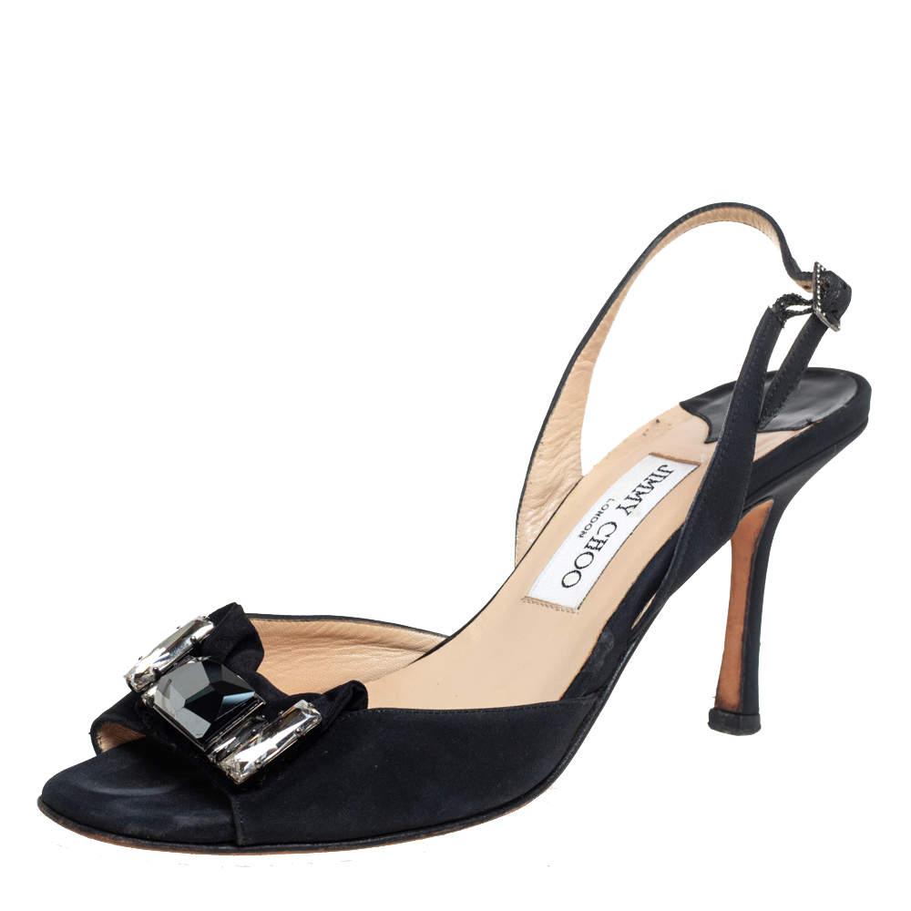 Jimmy Choo Black Satin Crystal Embellished Open Toe Slingback Sandals Size 38.5
