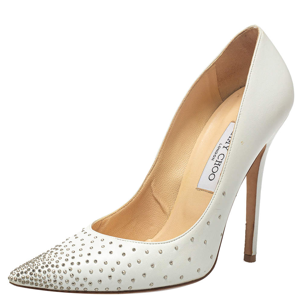 Jimmy Choo White Embellished Leather Romy Pointed Toe Pumps Size 39