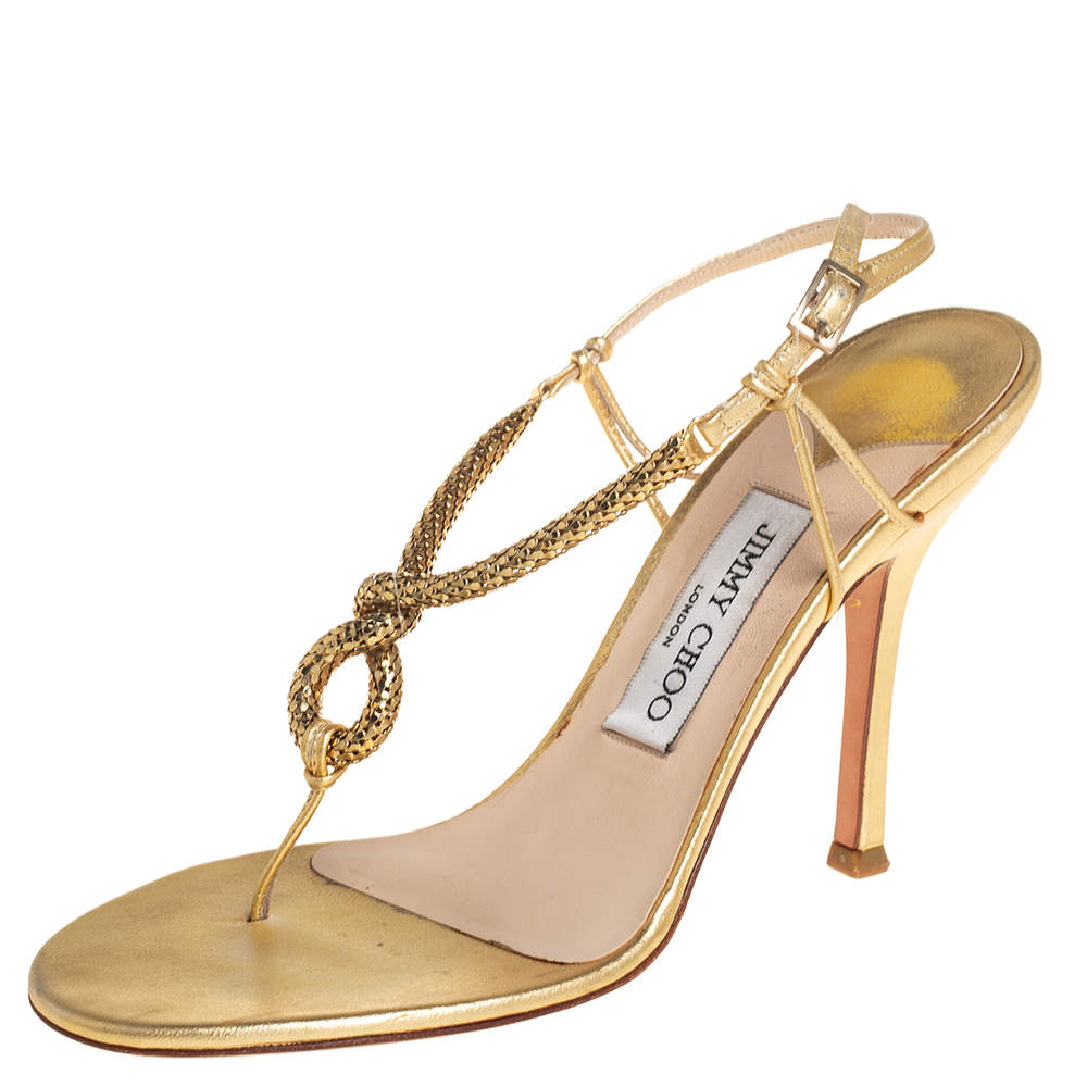 Jimmy Choo Gold Leather Knotted Chain Thong Slingback Sandals Size 37.5