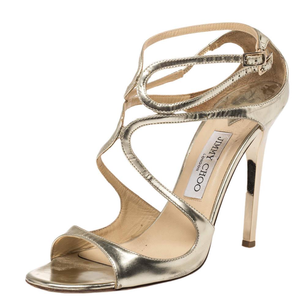 Jimmy Choo Metallic Gold Leather Lance Sandals Size 40