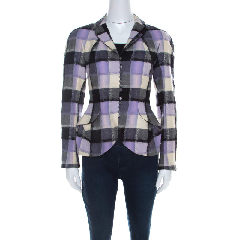John Galliano Vintage Checkered Wool and Mohair Buttoned Jacket M
