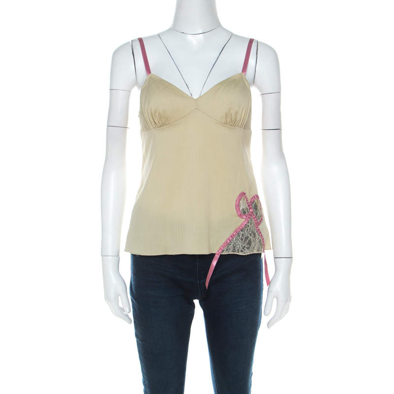 John Galliano Green Stretch Cotton and Lace Bow Detail Camisole Top M