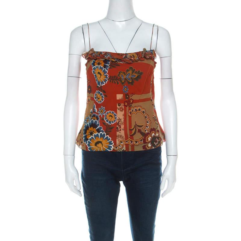 John Galliano Rust Orange Floral Print Silk Camisole Top M