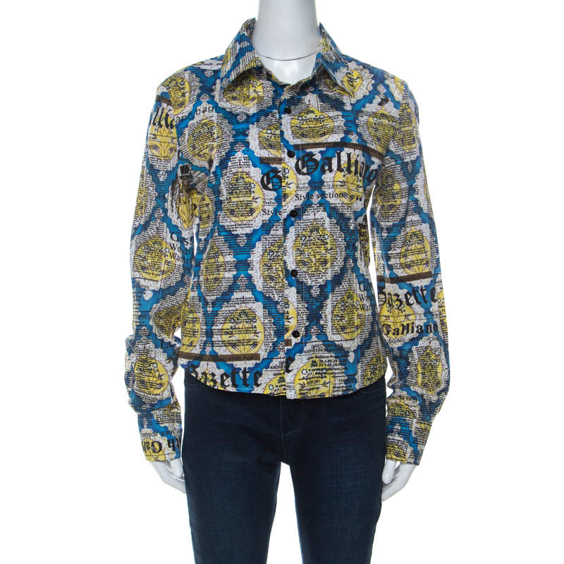 John Galliano Blue and Yellow Printed Cotton Button Front Shirt L