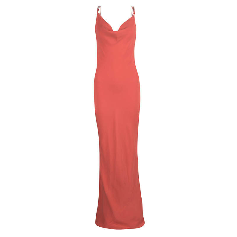 Joseph Orange Silk Couture Basel Bias Cut Silk Crepe Maxi Dress L