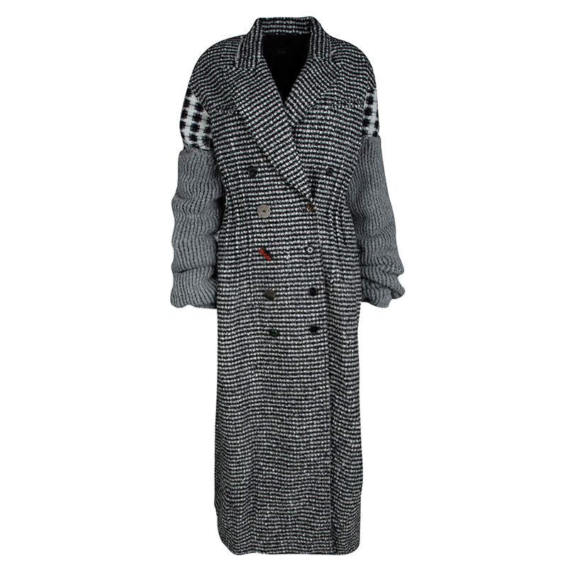 Joseph Grey Check Jersey and Jacquard Wool Al Maxi Overcoat L