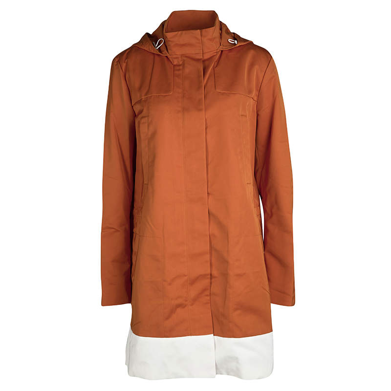 Joseph Orange Techno Taffeta Contrast Trim Hooded Zero Jacket L