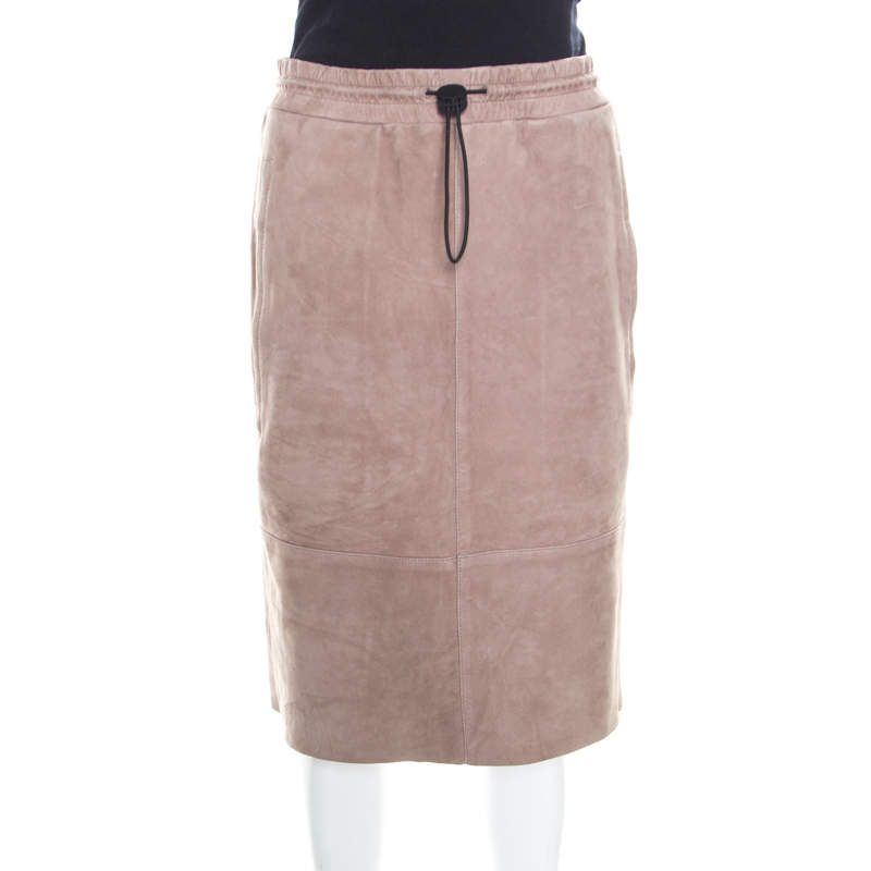 Joseph Rose Taupe Suede Drawstring Detail Margo Pencil Skirt S