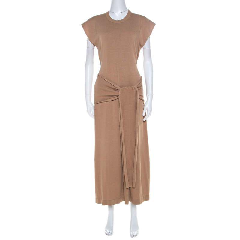 Joseph Sand Brown Rib Knit Cut Out Detail Tie Up Tipi Dress S
