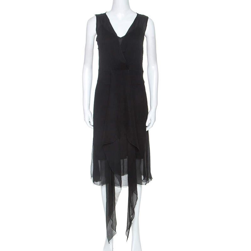 Joseph Black Silk Draped Overlay Midi Dress M