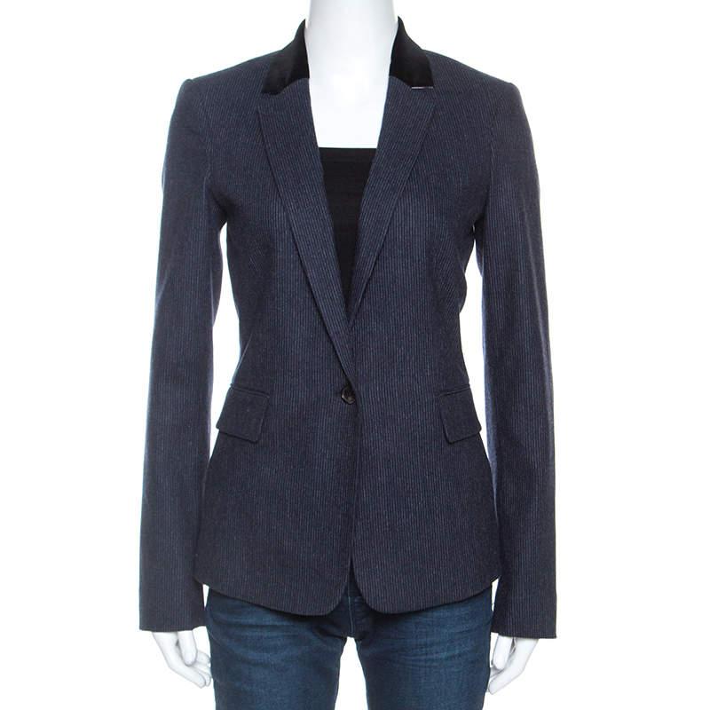 Joseph Navy Blue Wool Prisca Small Stripe Blazer S