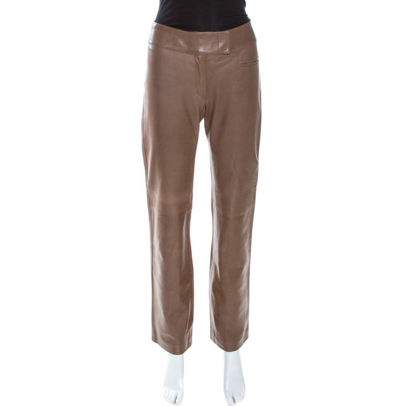 Joseph Brown Leather Straight Fit Pants S