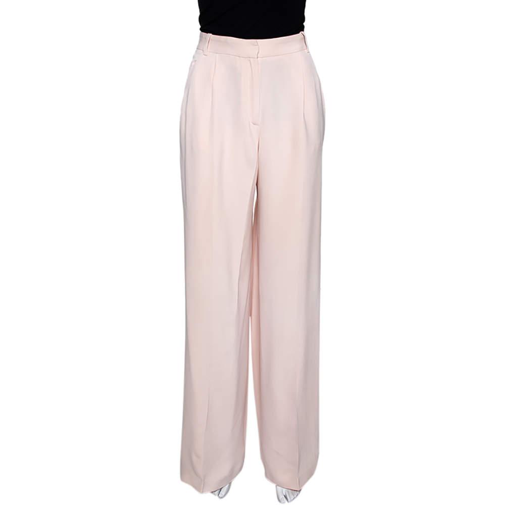 Joseph Pale Pink Matte Silk Chester Wide Leg Trousers L