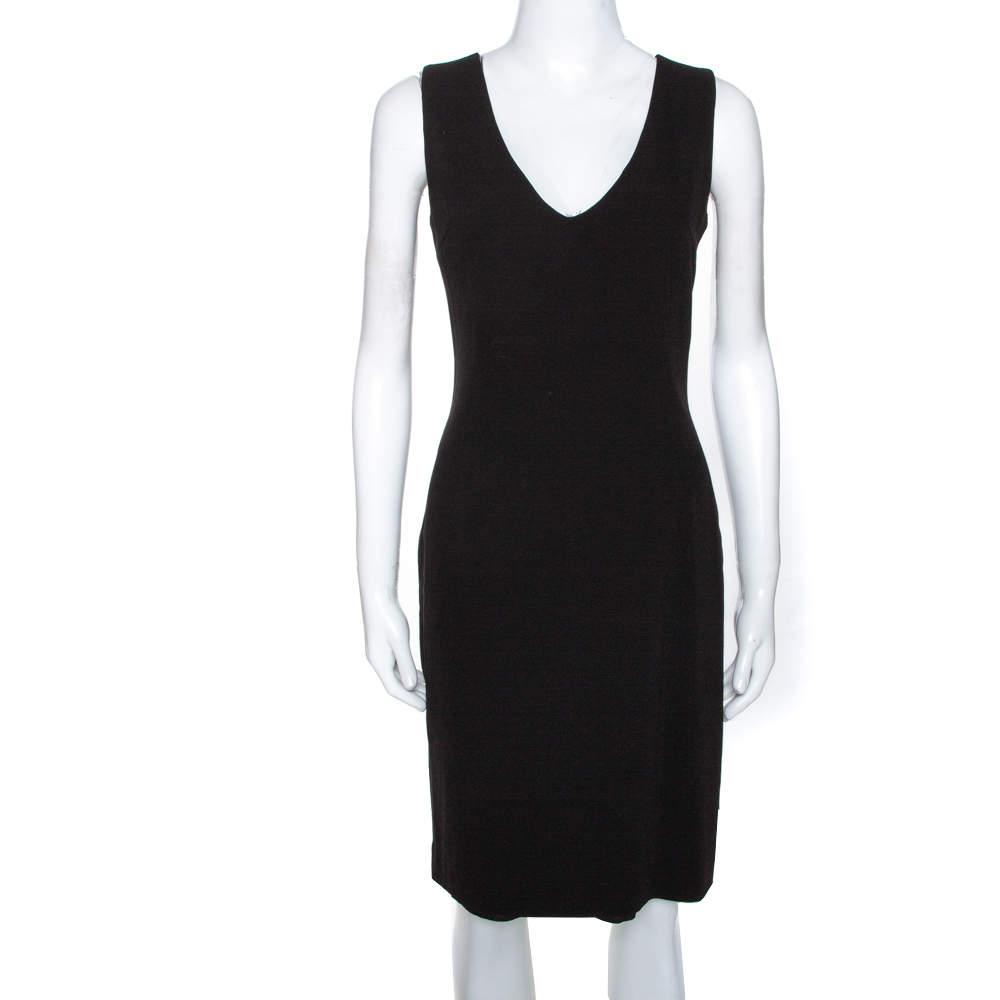 Joseph Black Crepe V Neck Sleeveless Dress M