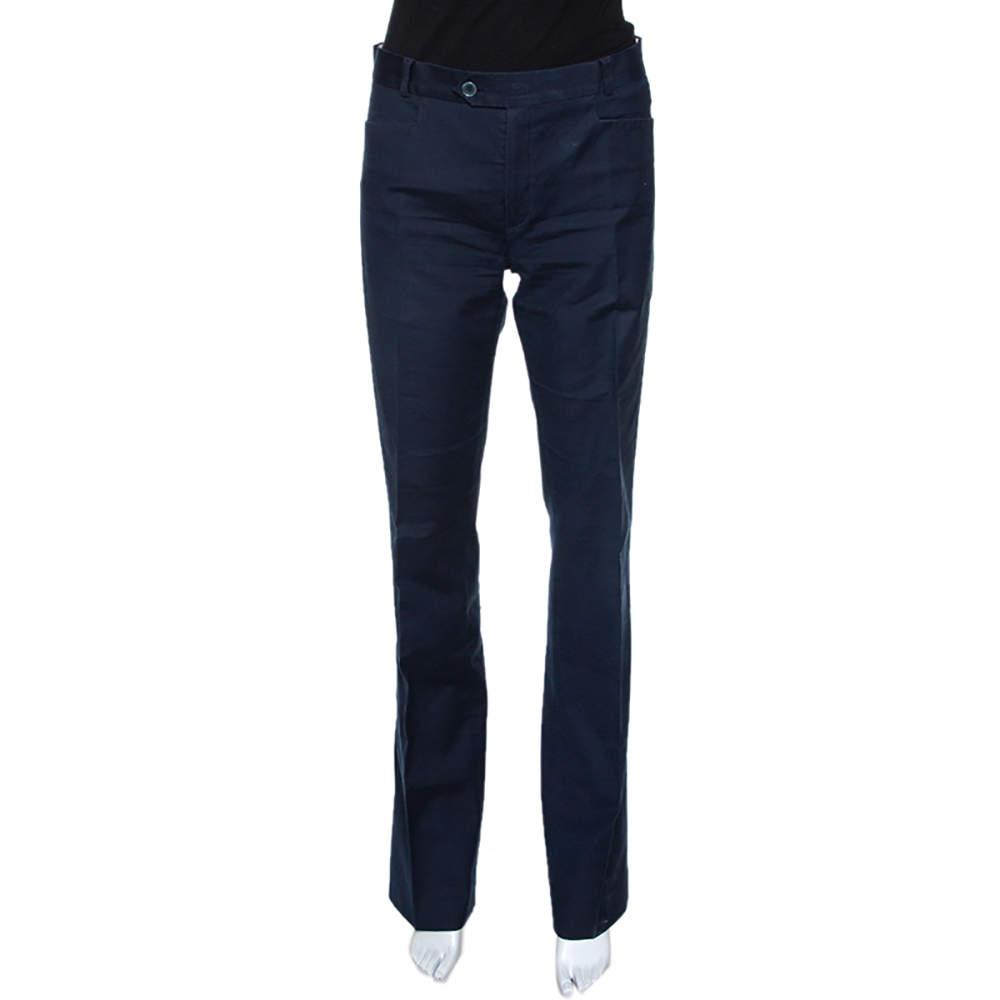 Joseph Navy Blue Stretch Cotton Straight Leg Pants M