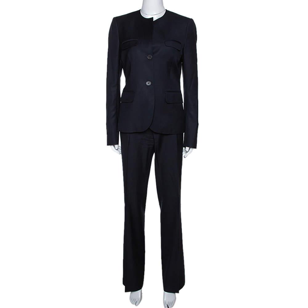 Joseph Black Wool Fizzy Super 100/Rocker Super 100 Pant Suit L