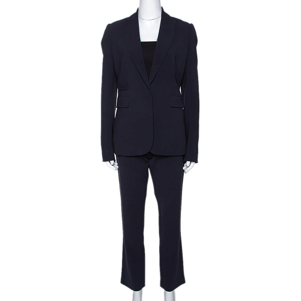 Joseph Navy Blue Stretch Crepe Earl/Ben Pant Suit M