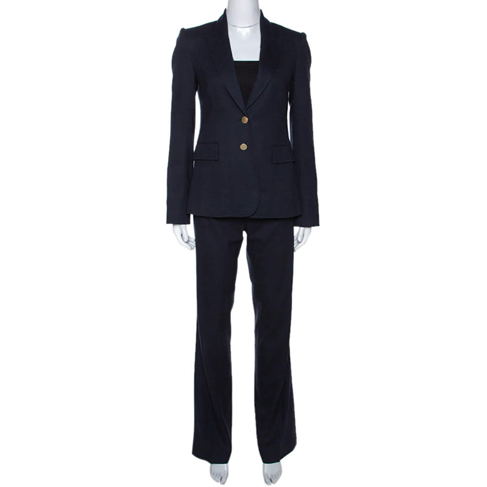 Joseph Navy Blue Wool Tailored Pant Suit S