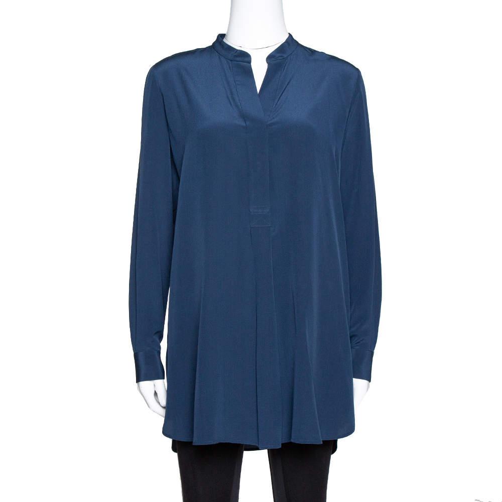 Joseph Midnight Blue Silk Dara Long Sleeve Blouse S