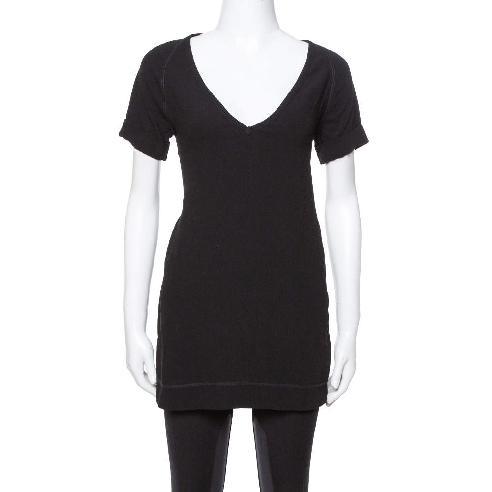 Joseph Black Stretch Crepe Raleigh V-Neck Top M