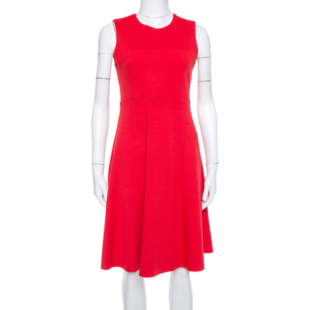 Joseph Red Knit Paneled Sleeveless Milano Dora Dress M