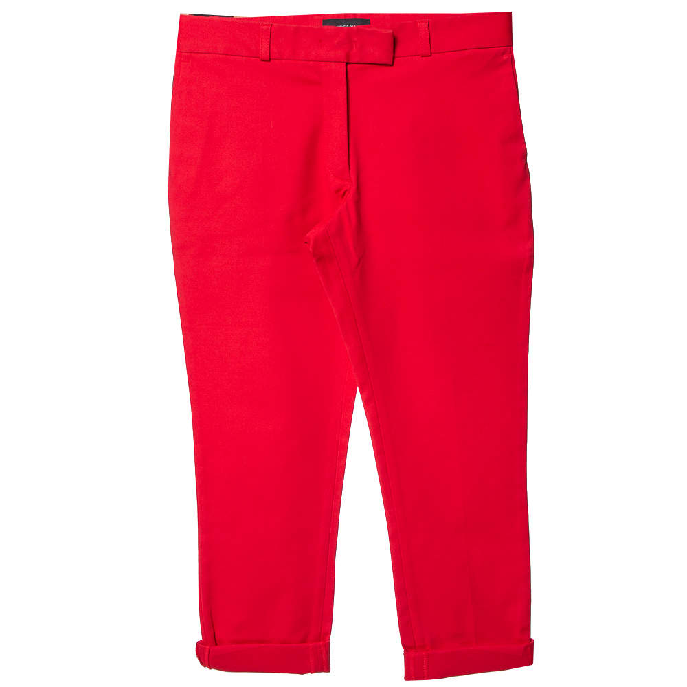 Joseph Red Cotton Slim Fit Cropped Trousers S