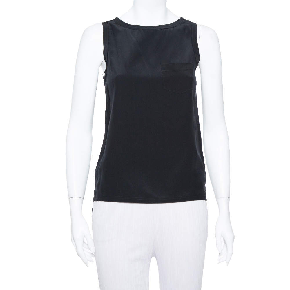 Joseph Black Silk Crepe Sleeveless New Debardeur Top S