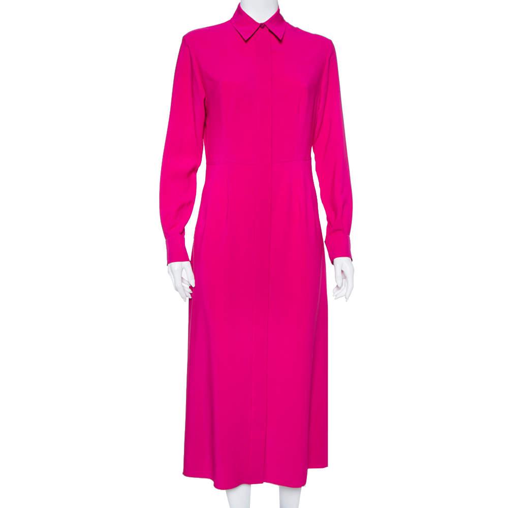 Joseph Purple Silk Long Sleeve Maxi Shirt Dress M