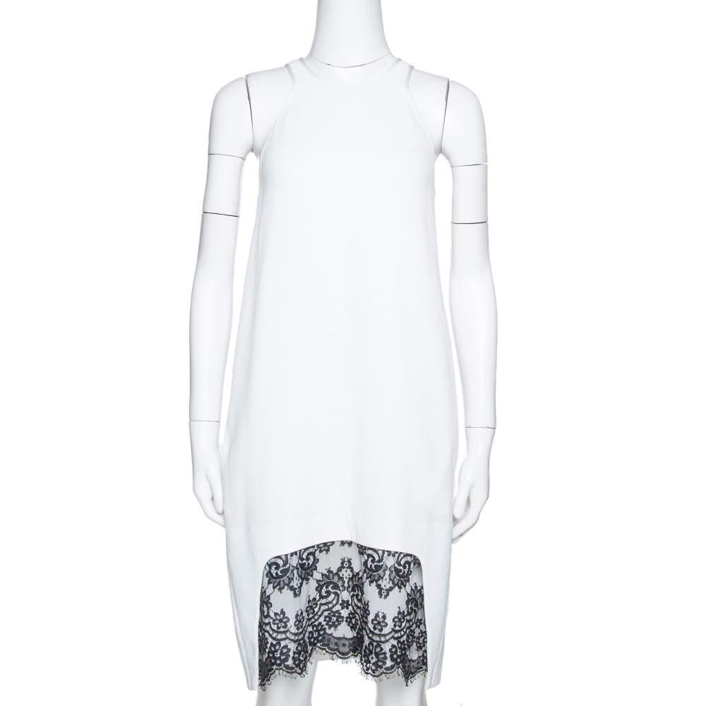Just Cavalli White Crepe Lace Trim Sleeveless Shift Dress M