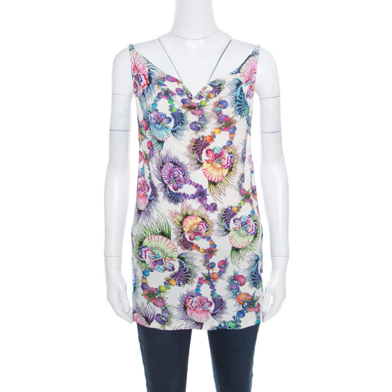 Just Cavalli Multicolor Shell Printed Jersey Cowl Neck Sleeveless Top M