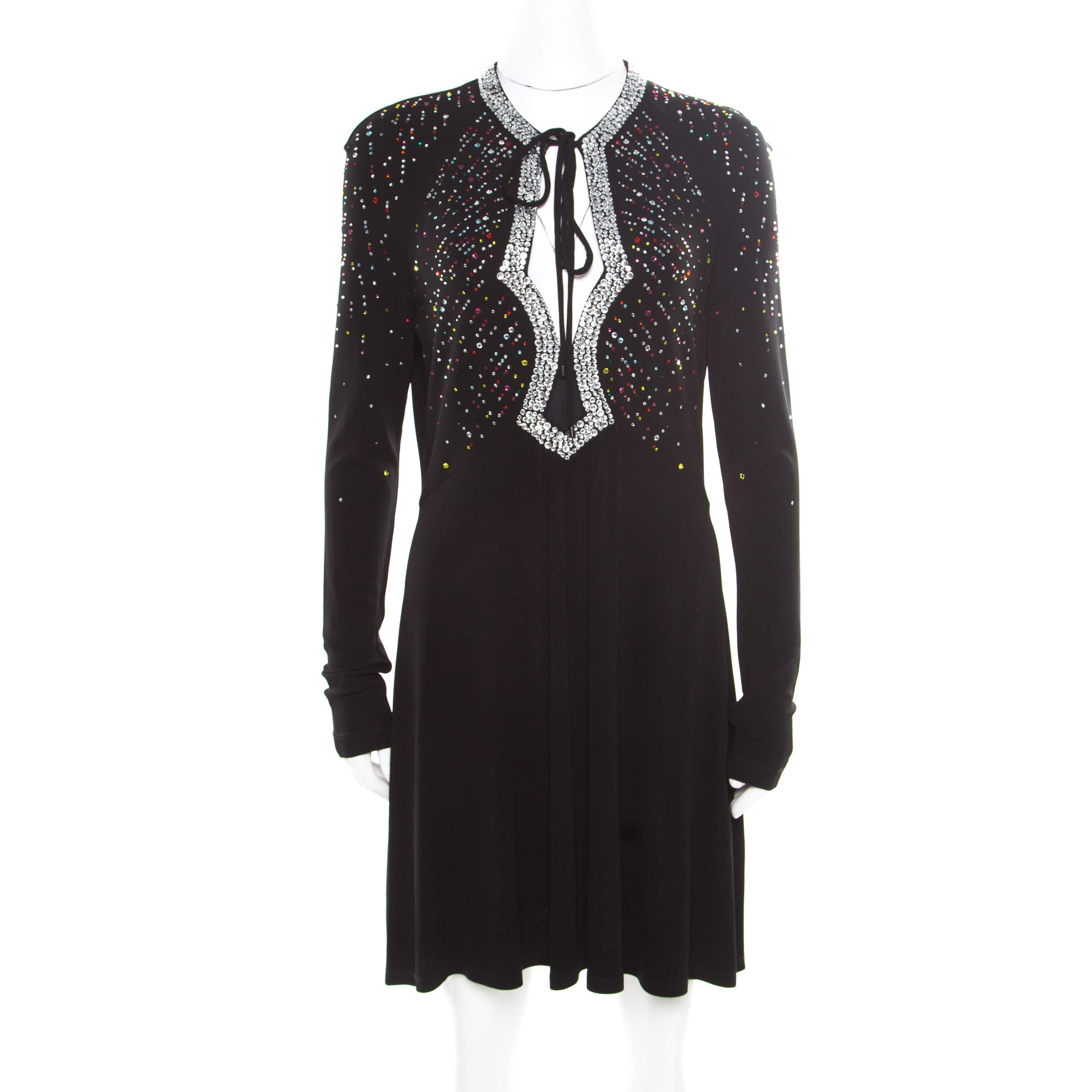 Just Cavalli Black Knit Multicolor Crystal Embellished Long Sleeve Dress M