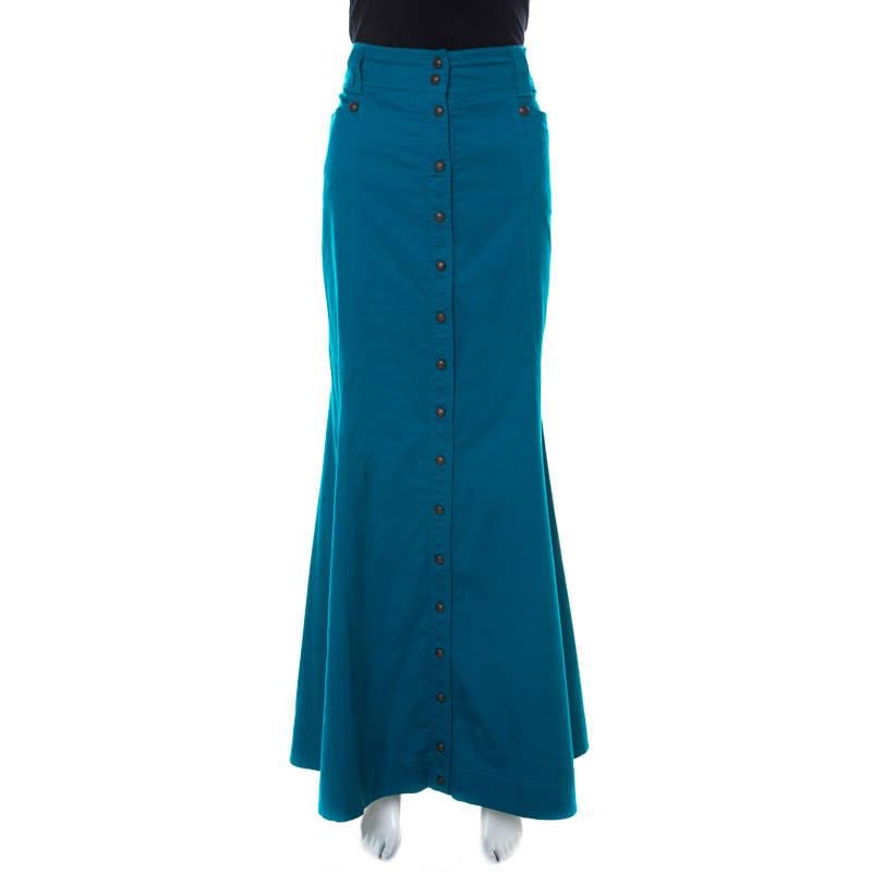 Just Cavalli Blue Cotton Button Front Maxi Skirt L