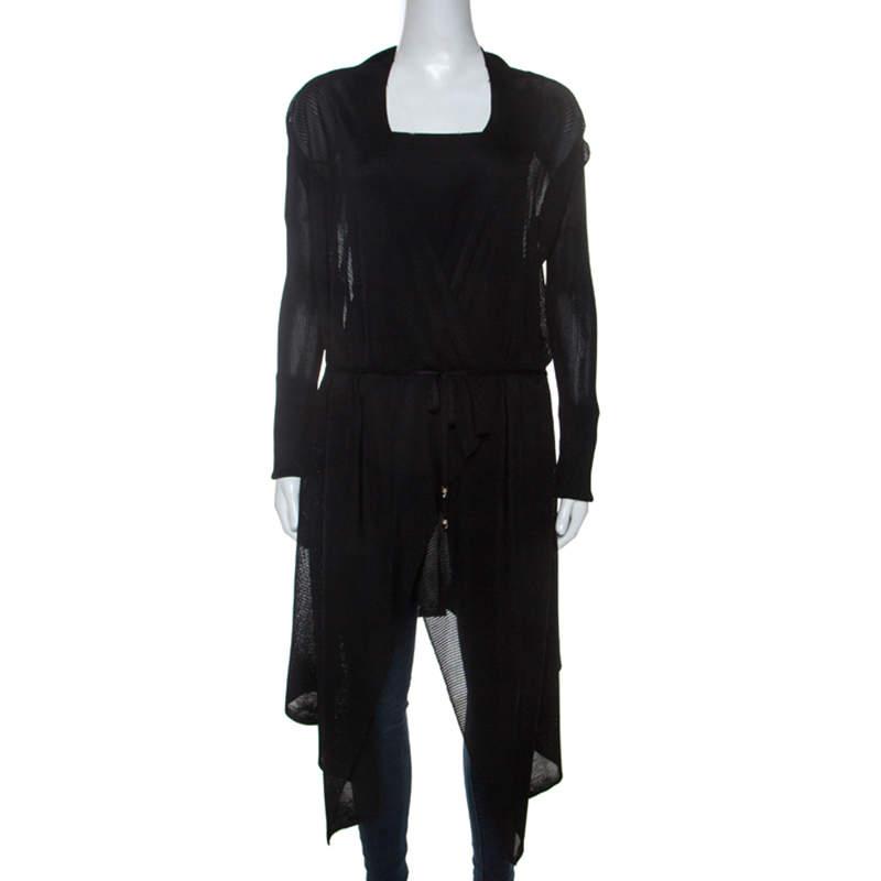 Just Cavalli Black Knit Waist Tie Detail Asymmetric Cardigan S