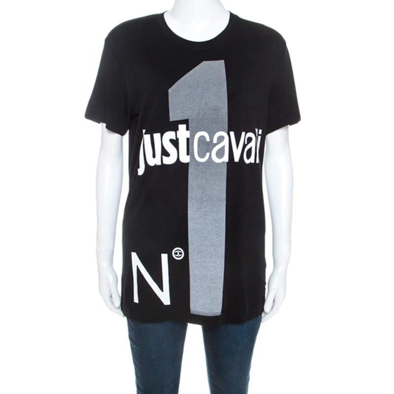 Just Cavalli Black Logo Print Jersey Oversized T-shirt XXS