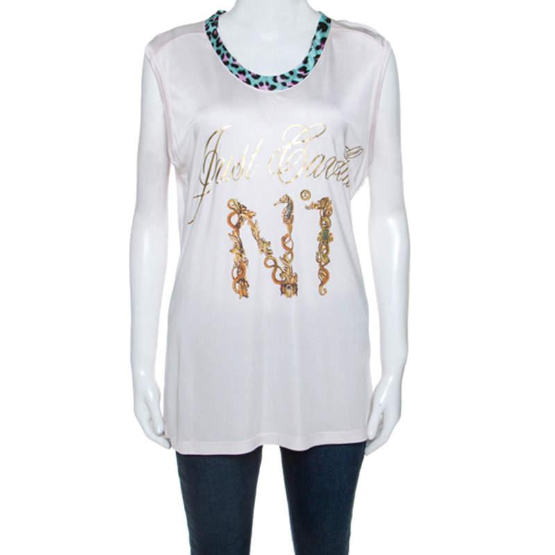 Just Cavalli Pale Pink Logo Print Jersey Oversized Sleeveless Top S