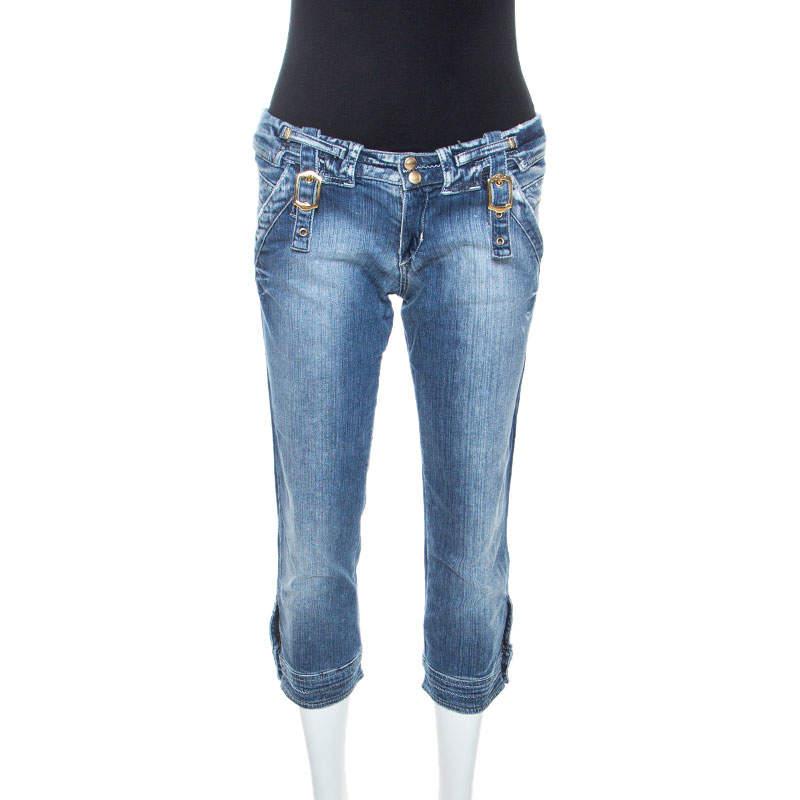 Just Cavalli Blue Denim Buckle Detail Cropped Jeans M