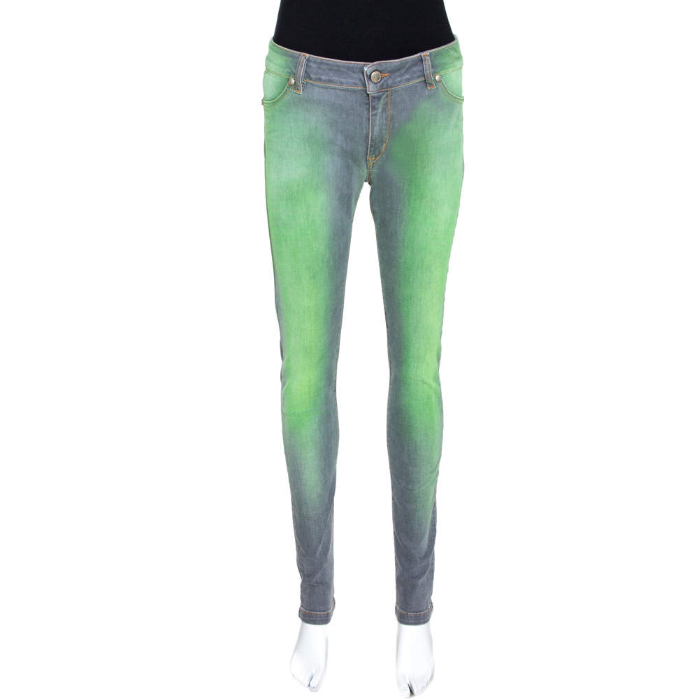 Just Cavalli Grey & Green Medium Wash Denim Jeans M