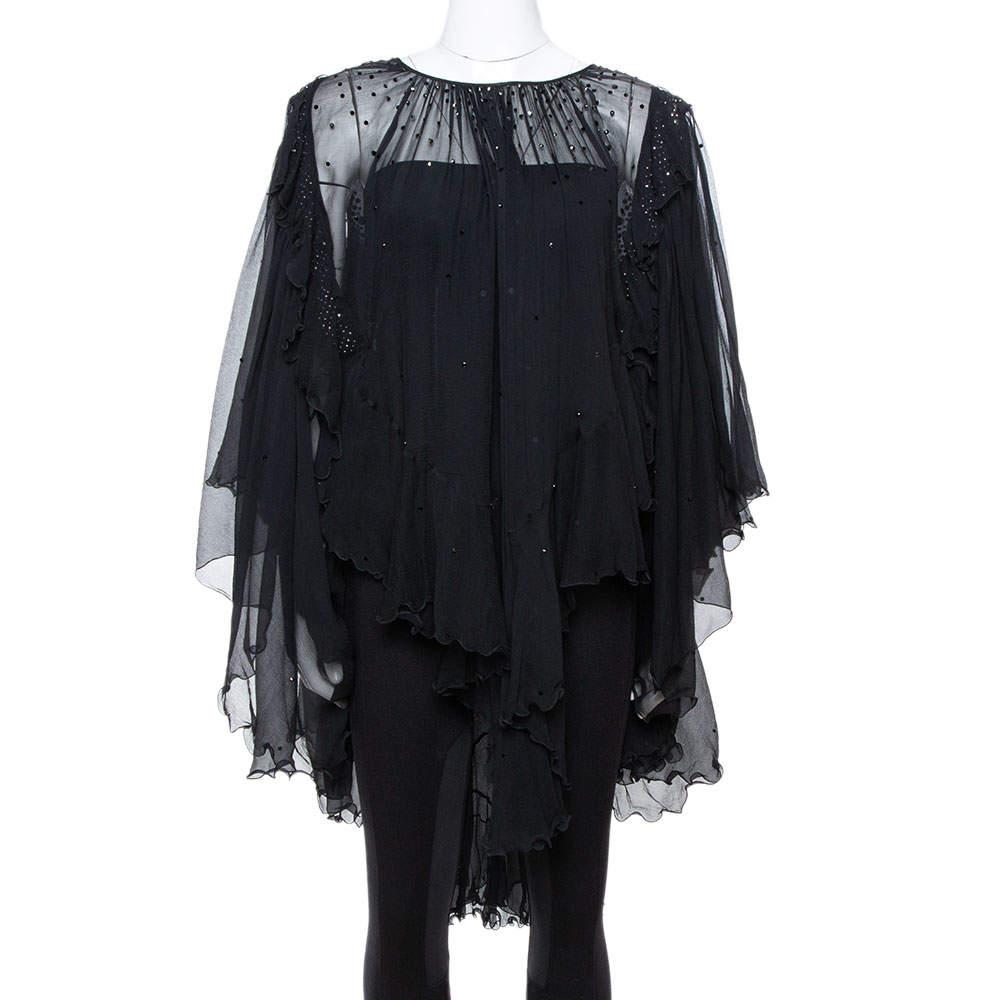 Just Cavalli Black Chiffon Stud Embellished Ruffled Blouse M