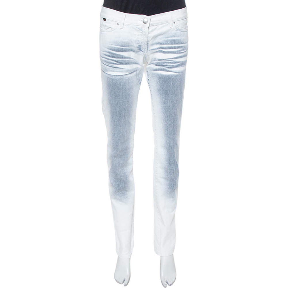 Just Cavalli White Ombre Distressed Flared Bottom Jeans M
