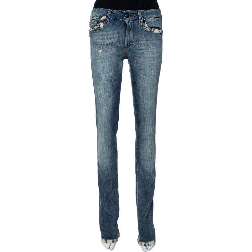 Just Cavalli Light Wash Denim Lace Trim Detail Straight Fit Jeans S