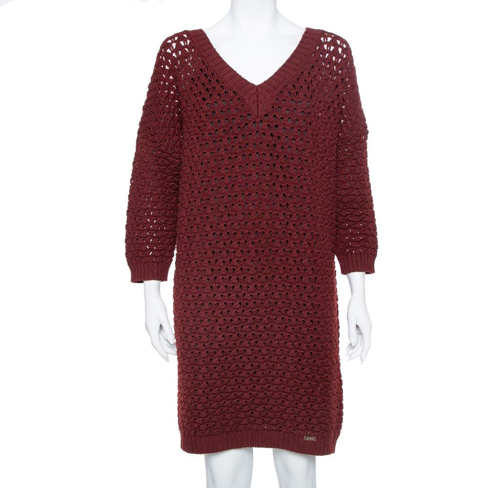 Just Cavalli Burgundy Open Knit Sweater Dress XL