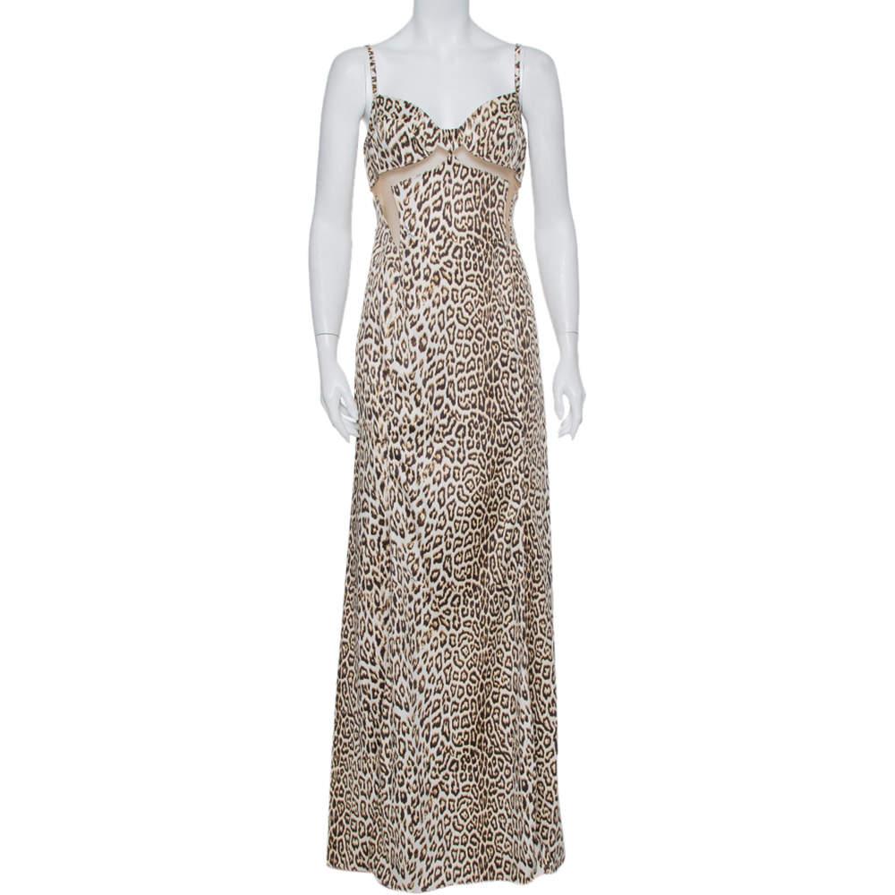 Just Cavalli Beige Animal Printed Satin Mesh Detail Maxi Dress L