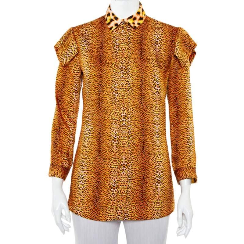 Just Cavalli Orange Animal Printed Satin Button Front Shirt S