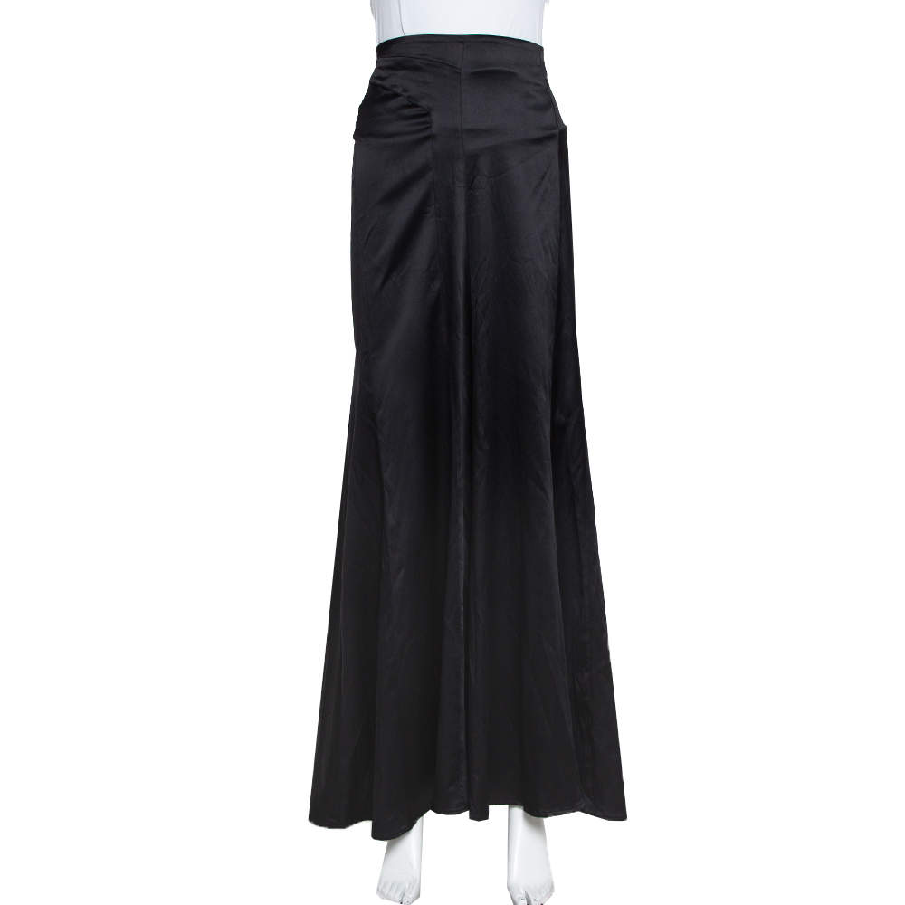 Just Cavalli Black Satin Paneled Maxi Skirt L